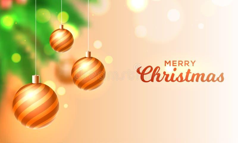 Vrolijk die de kaartontwerp van de Kerstmisgroet met het hangen van goud wordt verfraaid stock illustratie