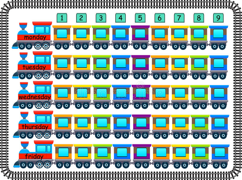 Vrolijk die schooltijdschema door treinen en wagens wordt gemaakt vector illustratie