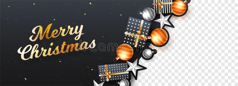 Vrolijk die van de Kerstmiskopbal of banner ontwerp met festival wordt verfraaid stock illustratie