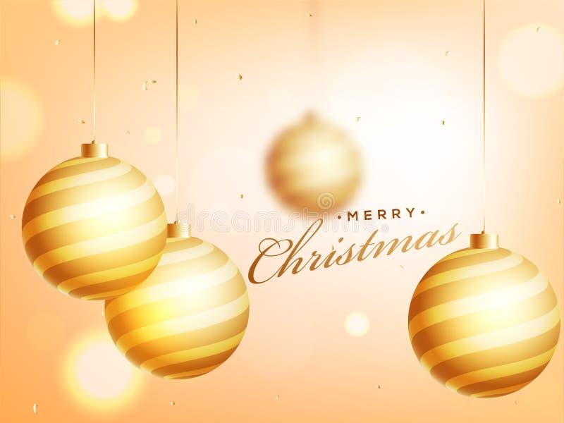 Vrolijk die van het Kerstmisaffiche of malplaatje ontwerp met het hangen wordt verfraaid vector illustratie