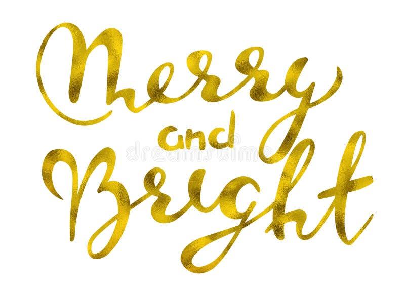 Vrolijk en helder Gouden schitterend elegant modern borstel het van letters voorzien ontwerp op een wight achtergrond rastr illus vector illustratie