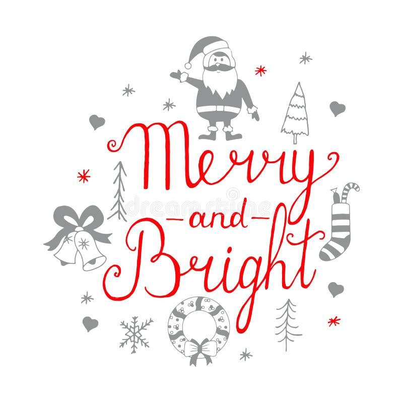 Vrolijk en helder het van letters voorzien ontwerp Geplaatste de Pictogrammen van Kerstmis Hand kalligrafisch van letters voorzie vector illustratie