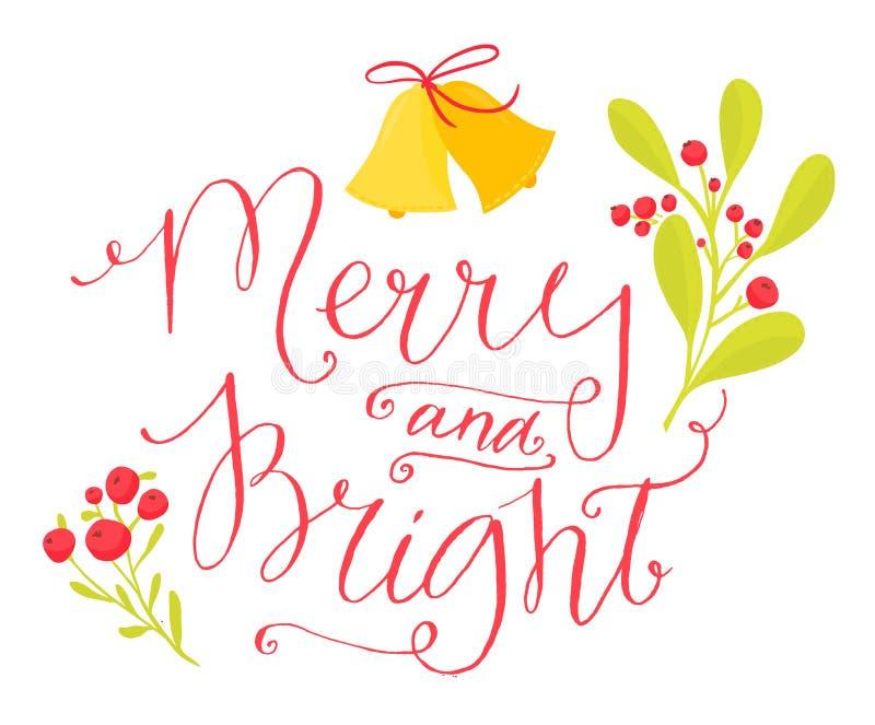 Vrolijk en Helder Kerstkaart met kalligrafie in uitstekende stijl stock illustratie