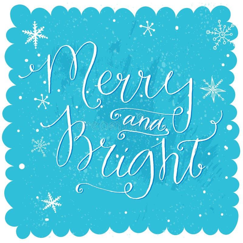 Vrolijk en Helder Kerstmis het van letters voorzien bij blauwe sneeuw royalty-vrije illustratie