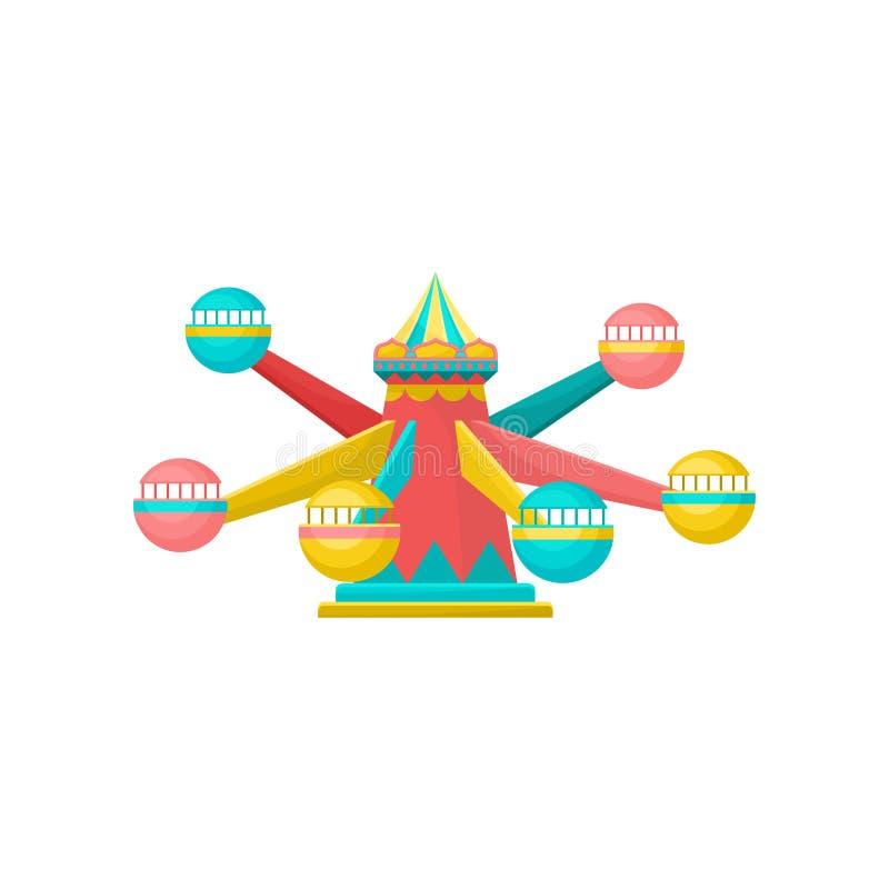 Vrolijk ga om carrousel, de vectorillustratie van het pretparkelement op een witte achtergrond stock illustratie