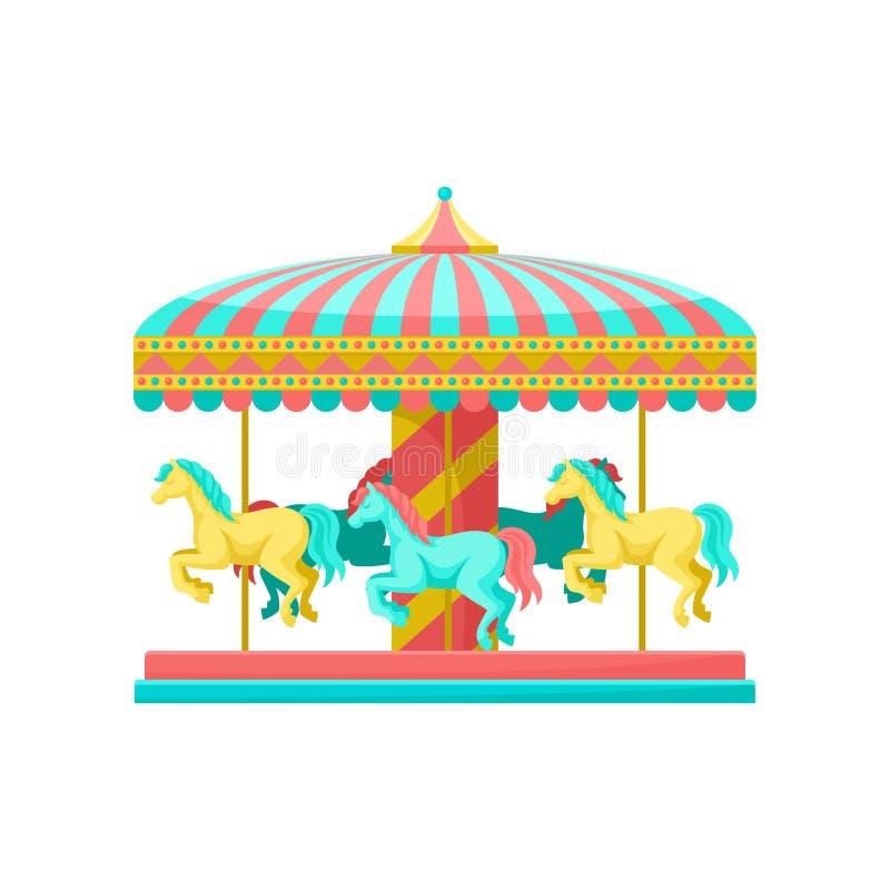 Vrolijk ga om carrousel met paarden, de vectorillustratie van het pretparkelement op een witte achtergrond royalty-vrije illustratie