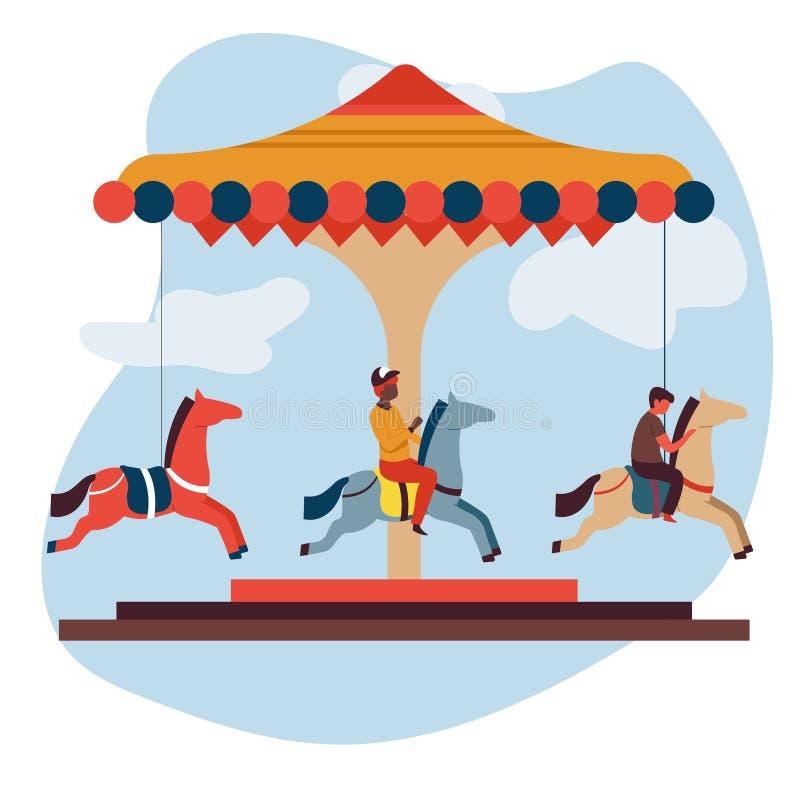 Vrolijk-gaan-rond of carrousel de geïsoleerde pictogramkinderen en markt van de aantrekkelijkheidspret royalty-vrije illustratie