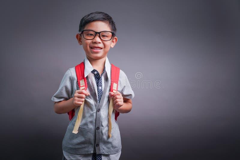 Vrolijk glimlachend weinig jongen met grote rugzak het bekijken camera Het concept van de school Terug naar School royalty-vrije stock afbeelding