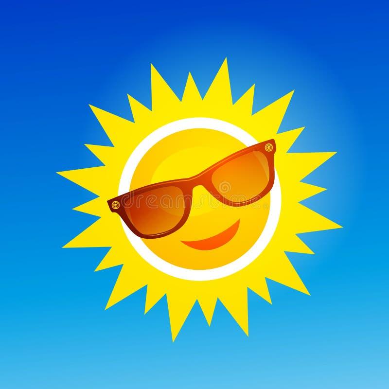 Vrolijk, het glimlachen beeldverhaalzon in zonnebril op blauwe achtergrond royalty-vrije illustratie