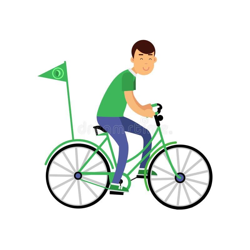 Vrolijk jong jongenskarakter in groene t-shirt die een fiets met vlag, het concept van het milieubehoud berijden stock illustratie