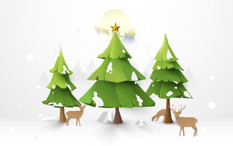 Vrolijk Kerstbomen en rendier met Santa Claus Driving in een Slee op de achtergrond van de volle maanillustratie royalty-vrije illustratie