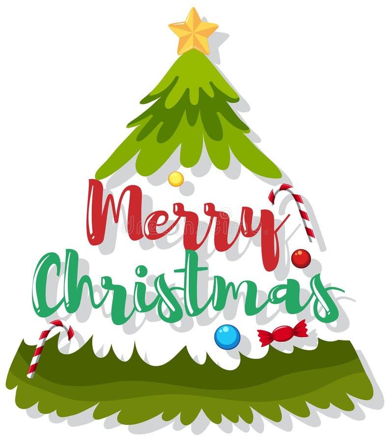 Vrolijk Kerstboompictogram stock illustratie