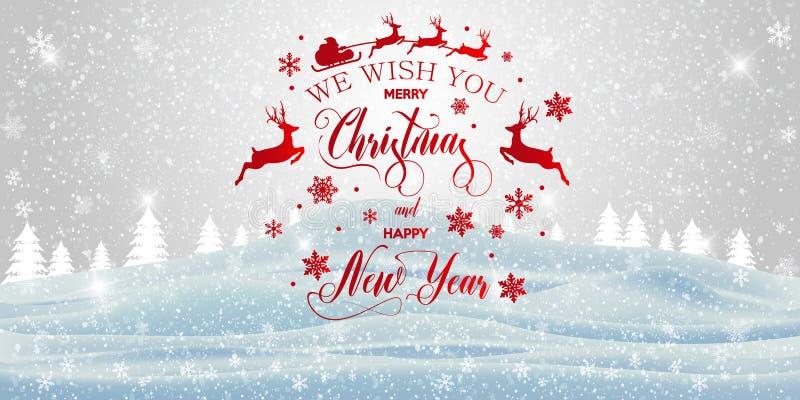 Vrolijk Kerstfeest en gelukkig Nieuwjaar inscriptie royalty-vrije stock afbeeldingen
