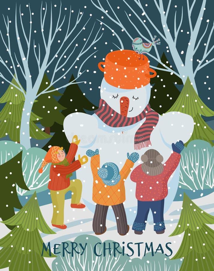 Vrolijk kerstfeest en gelukkig nieuwjaar Vector winterillustratie van schattige wenskaart Freehand tekenen van een leuk kind dat  stock illustratie