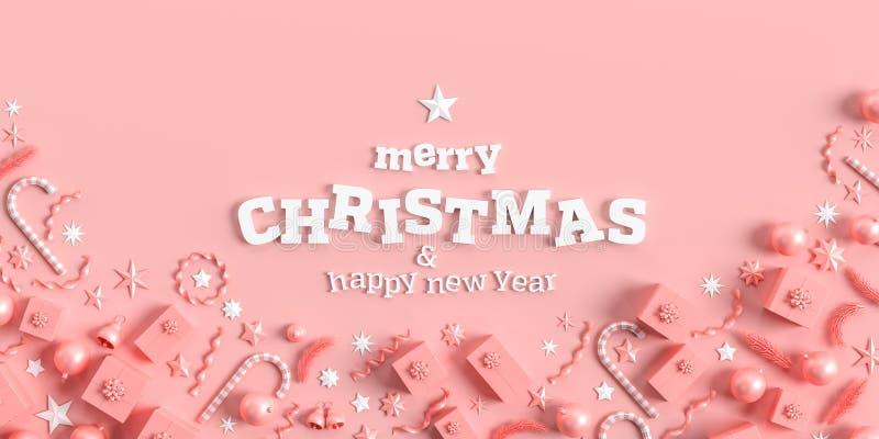 Vrolijk kerstfeest en vrolijke nieuwe jaarachtergrond Ontwerp met kerstachtergrond met versieringen op koraalroze achtergrond 3D vector illustratie