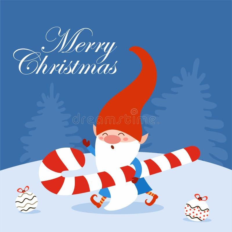 Vrolijk kerstfeest Fun-feestkaart met snoepgoed Vectorillustratie Kan worden gebruikt voor banner, poster, wenskaart, p vector illustratie