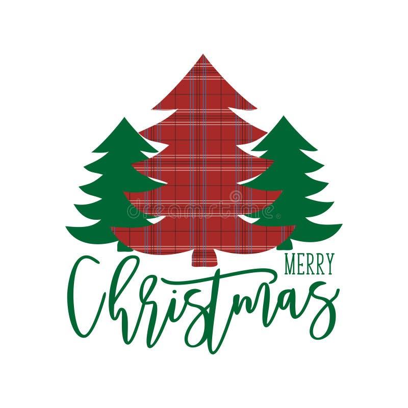 Vrolijk kerstfeest met handgeschreven tekst met kerstbomen stock illustratie