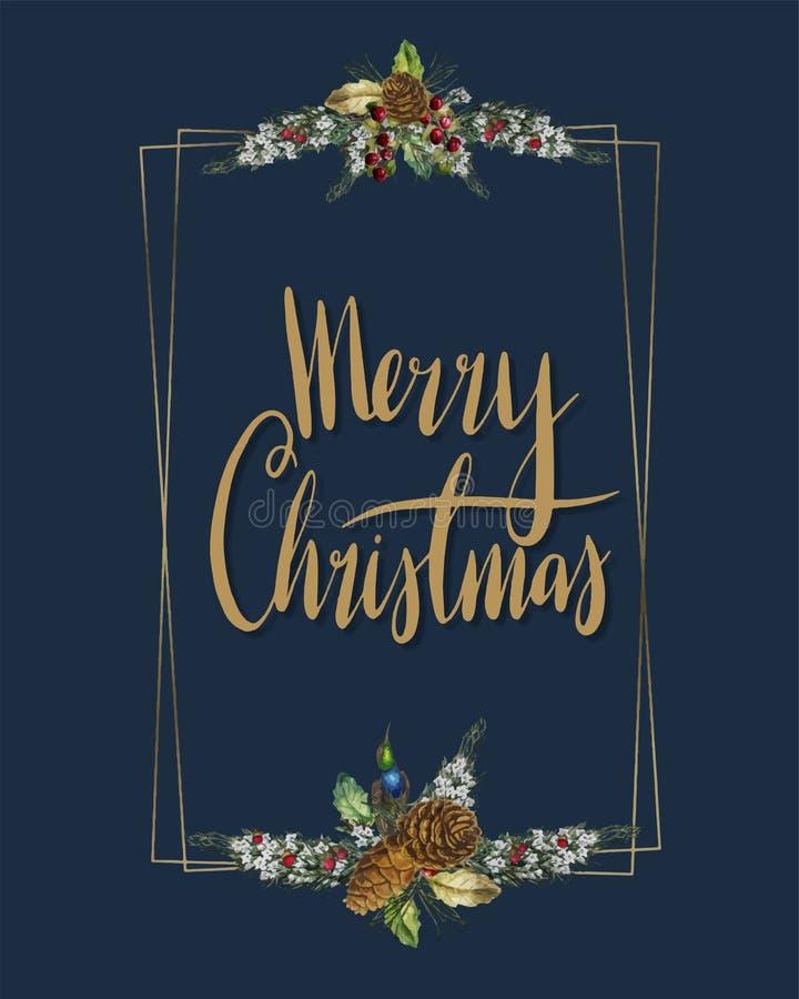 Vrolijk Kerstkaart vectorontwerp royalty-vrije illustratie