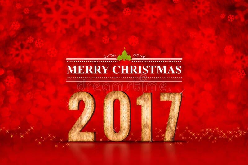 Vrolijk Kerstmis 2017 aantal bij rode het fonkelen bokeh lichten, verlof royalty-vrije stock fotografie