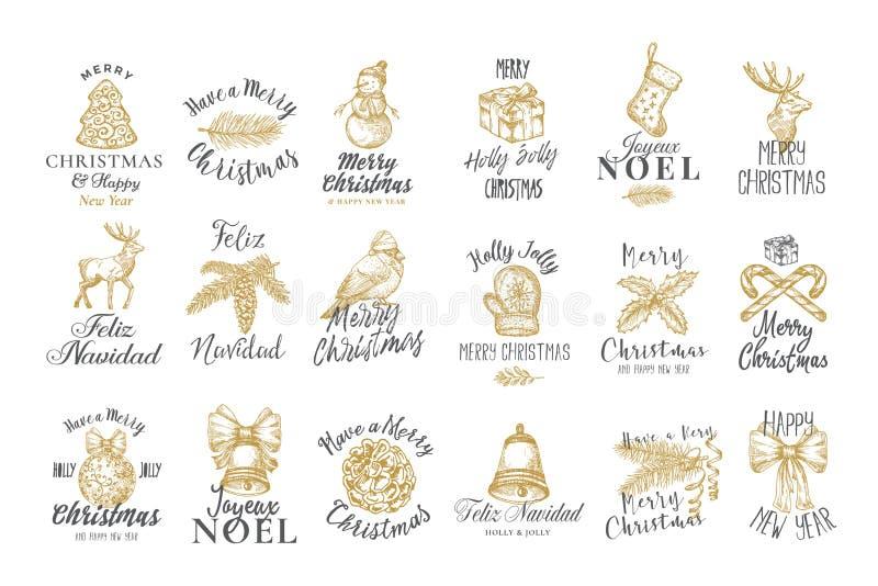 Vrolijk Kerstmis en gelukkig Nieuwjaar Abstract Vector Tekenen, Etiketten of de Inzameling van de Malplaatjes van het Logo Handge stock illustratie