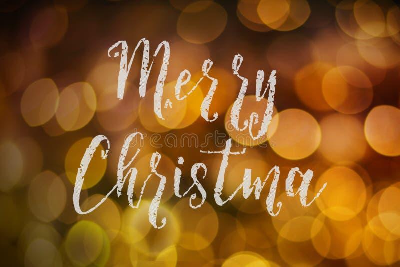 Vrolijk Kerstmis en Nieuwjaar typografisch op roze gouden fonkeling royalty-vrije stock afbeeldingen