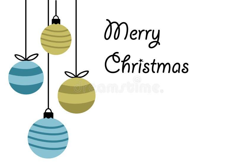 Vrolijk Kerstmis gelukkig nieuw jaar, het ontwerp van de groetkaart met vier hangende snuisterijen van de Kerstmisbal in eenvoudi vector illustratie