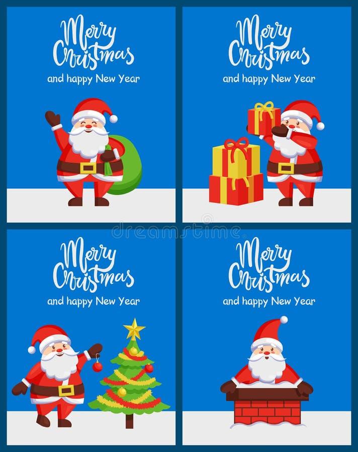 Vrolijk Kerstmis Gelukkig Nieuwjaar Santa Claus Banners royalty-vrije illustratie