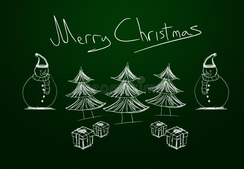 Vrolijk Kerstmis geschreven bord met drie pijnboombomen, twee sneeuwmannen en giftpakketten royalty-vrije illustratie