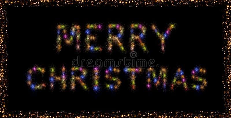 Vrolijk Kerstmis kleurrijk vuurwerk royalty-vrije stock fotografie