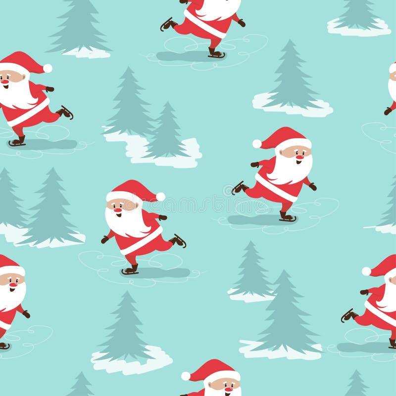 Vrolijk Kerstmis naadloos patroon met schaatsende Santa Claus stock illustratie