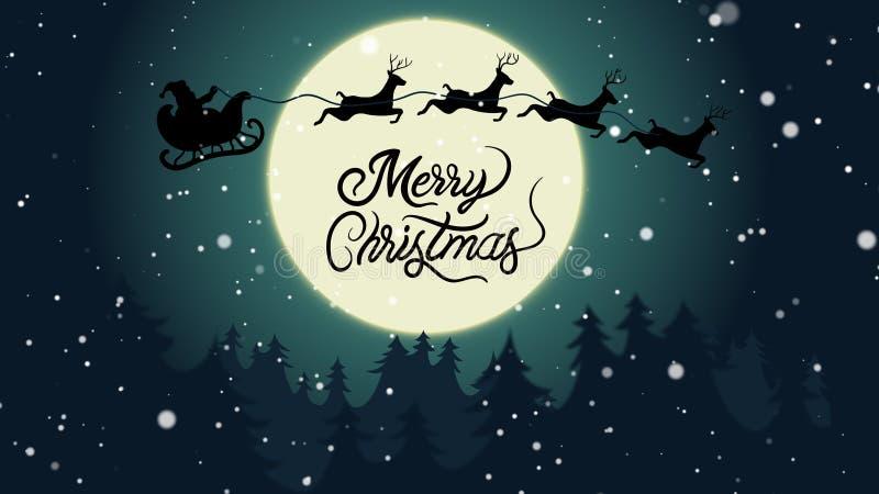 Vrolijk Kerstmismaanlicht vector illustratie