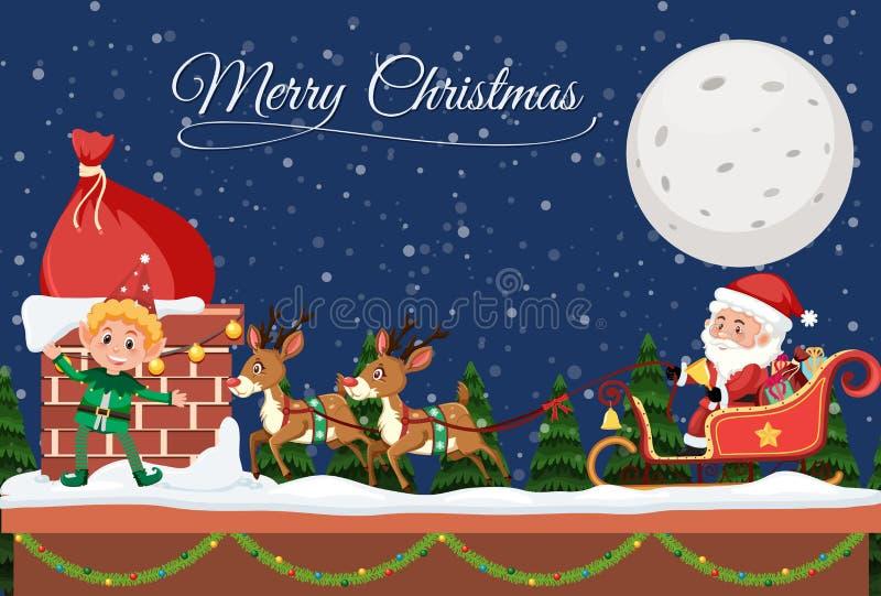 Vrolijk Kerstmismalplaatje bij nacht royalty-vrije illustratie