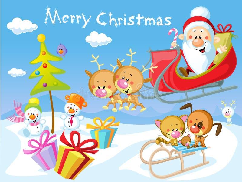 Vrolijk Kerstmisontwerp met Kerstman vector illustratie