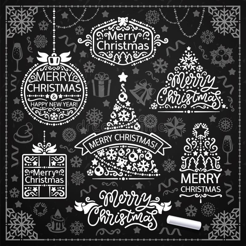 Vrolijk Kerstmisontwerp met Krijtword Kunst op Bord vector illustratie