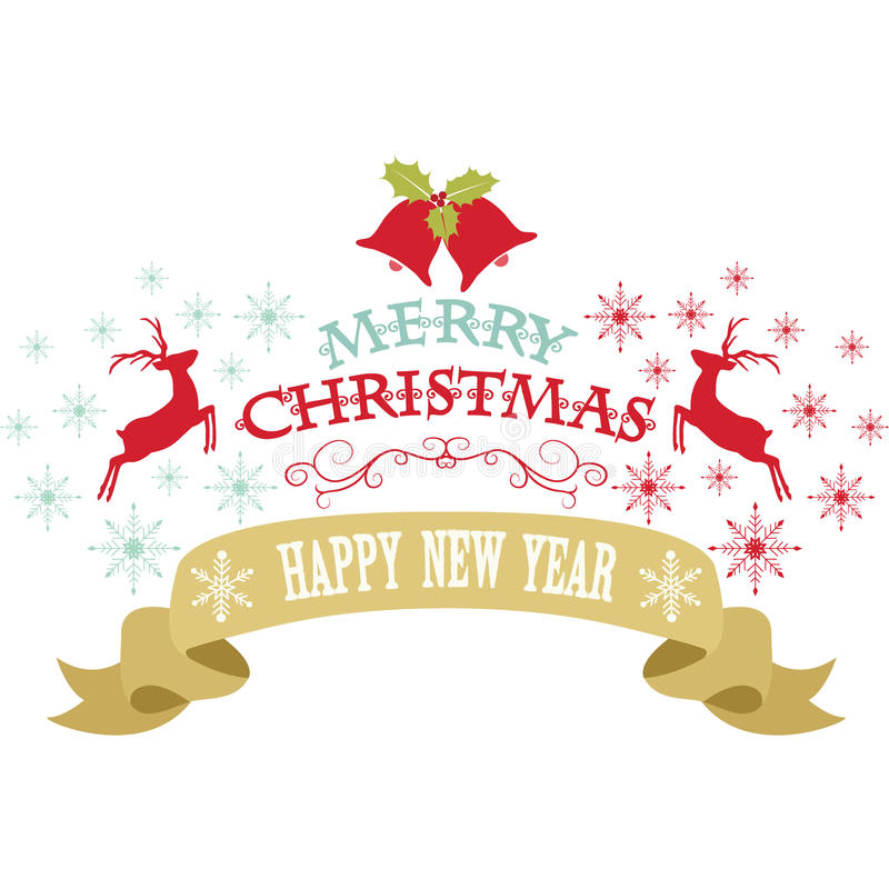 Vrolijk Kerstmisontwerp, Sneeuwvlokken, Kerstmisklok, Rendier, Banner, de decoratieve kaart van het Gelukkige Nieuwe jaar stock illustratie