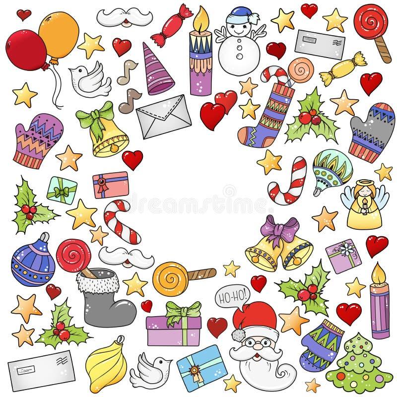 Vrolijk Kerstmispatroon voor de kaarten van de vakantiegroet, druk, boekpagina, kogeldagboek of verpakkend document Klokken, Kers stock afbeeldingen