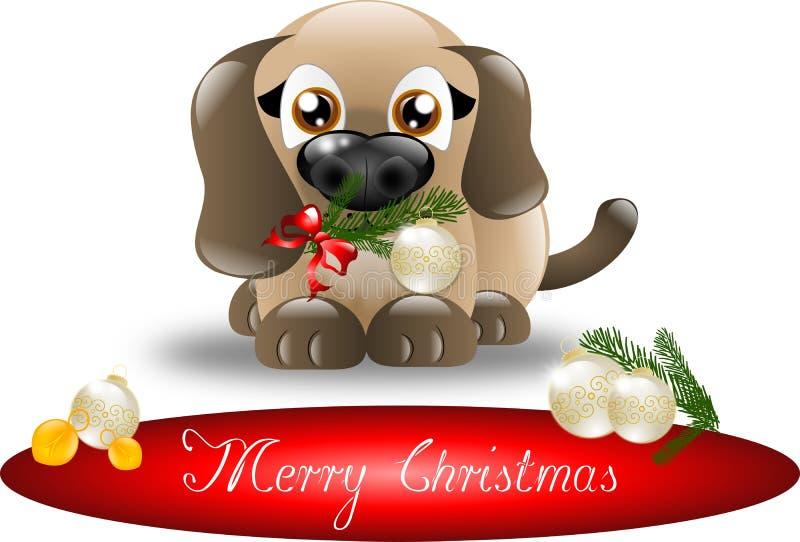 Vrolijk Kerstmispuppy vector illustratie