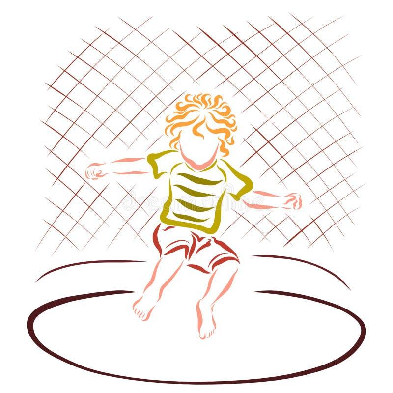 Vrolijk kind die op een trampoline, actieve rust springen royalty-vrije illustratie