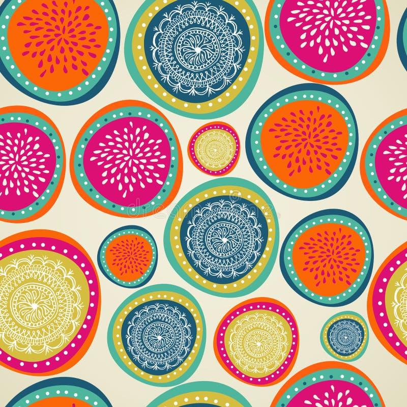 Vrolijk kleurrijk de snuisterij naadloos patroon van Kerstmiselementen. vector illustratie