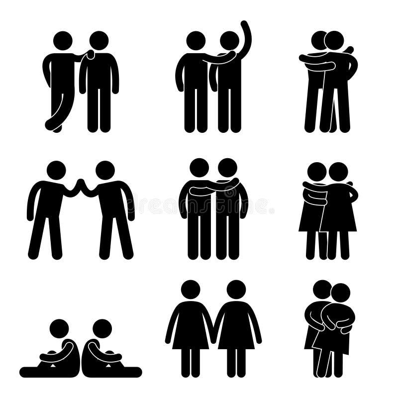 Vrolijk Lesbisch Homoseksueel Pictogram vector illustratie