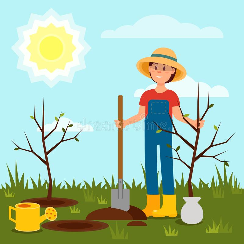 Vrolijk meisje die boom planten Jonge Vrouw die in Tuin werkt Blauwe hemel en heldere zon Natuurlijk landschap Vlakke vector stock illustratie
