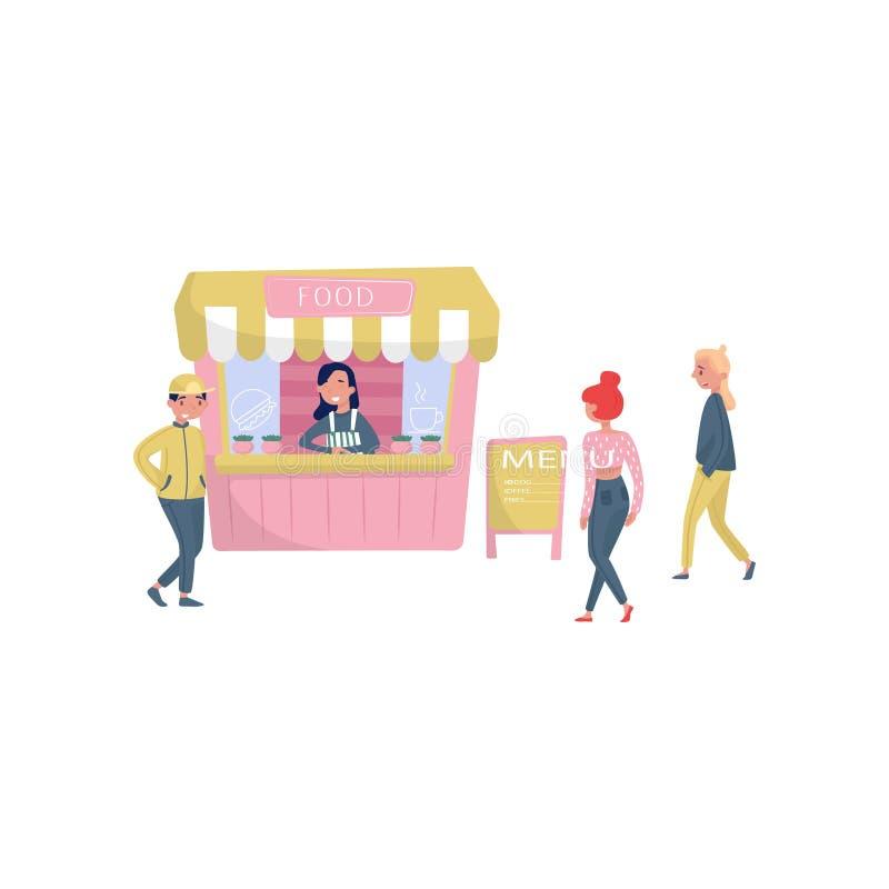 Vrolijk meisje die zich achter teller van straatbox bevinden Mensen die snel voedsel gaan kopen Kleine onderneming Vlak vectoront vector illustratie
