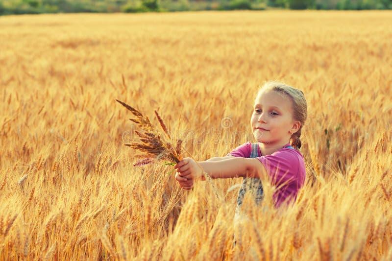 Vrolijk meisje op een gang dichtbij het gebied met tarwe royalty-vrije stock fotografie