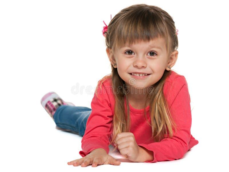 Download Vrolijk Meisje In Rood Op De Witte Achtergrond Stock Afbeelding - Afbeelding bestaande uit rood, vrij: 29501801