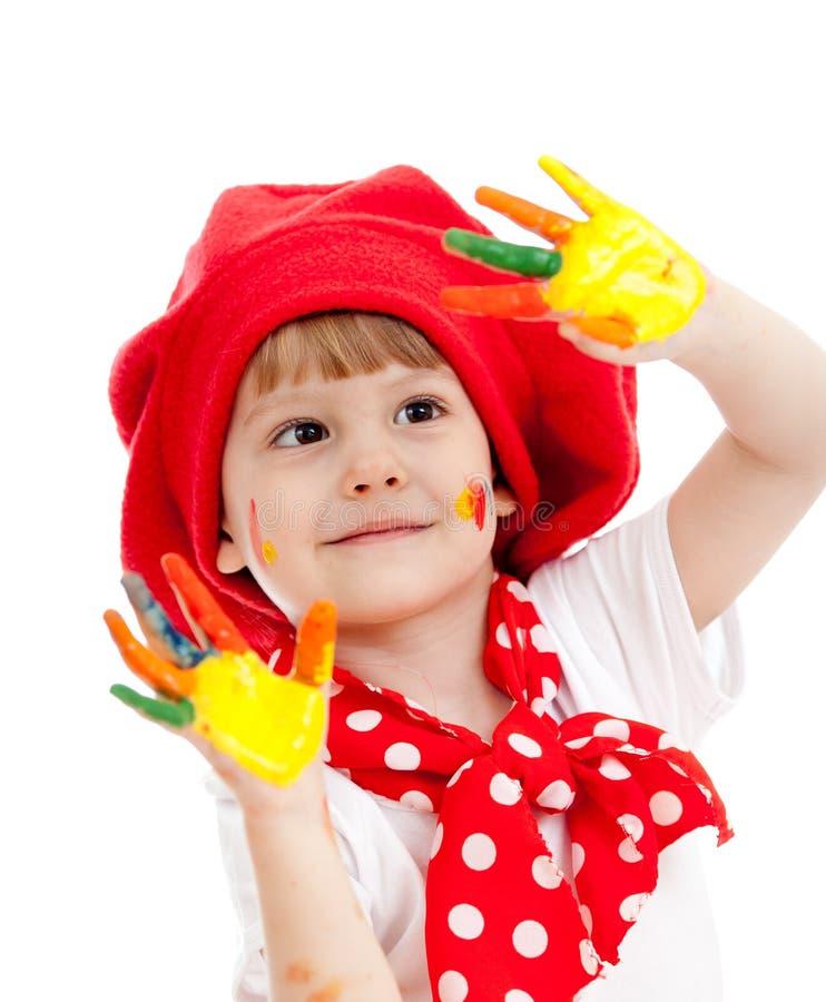 Vrolijk meisjesjong geitje met geschilderde handen royalty-vrije stock afbeeldingen