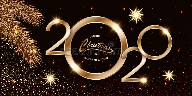 Vrolijk Nieuwjaar 2020: vrolijk Nieuwjaar 2020: luxe Kerstmis donkere achtergrond met gouden tekst, confetti, vette takken en gli royalty-vrije illustratie