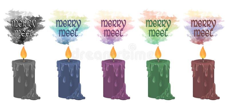` Vrolijk ontmoet `-kaarsen vector illustratie