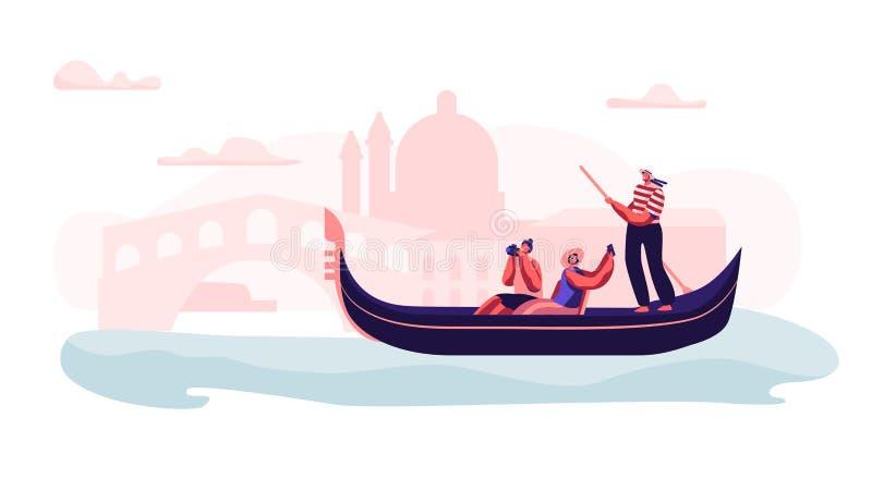 Vrolijk Opgewekt Paar in Gondel met Gondelier Floating die bij Kanaal Foto van Sightseeing maken bij Romantische Reis aan Italië stock illustratie