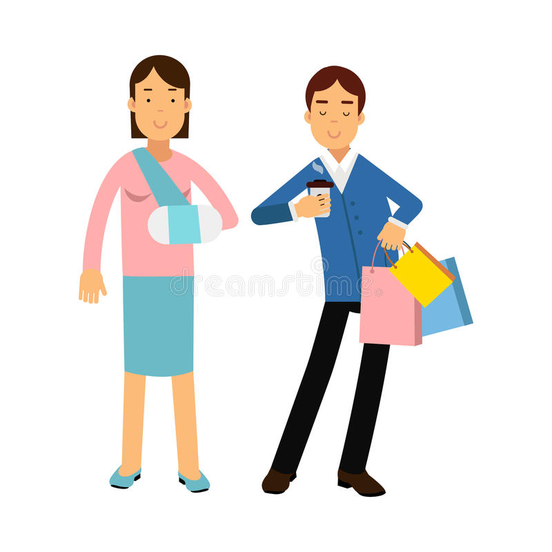 Vrolijk paar die, vrouw met wapen in een pleister kleurrijke Illustratie samen winkelen vector illustratie
