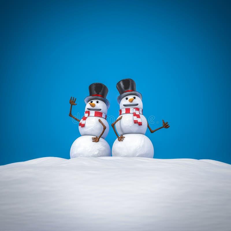 Vrolijk paar sneeuwmannen stock illustratie